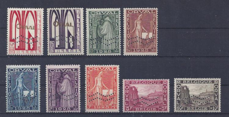 Stamp Sales COB N° 258A/266A uit het jaar 1929, Eerst Orval met Mouwstreep